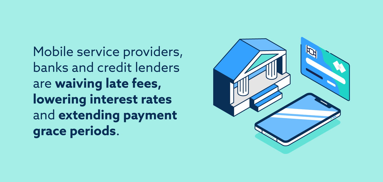Graphic: Mobile service providers, banks and credit lenders are waiving late fees, lowering interest rates, and extending payment grace periods.